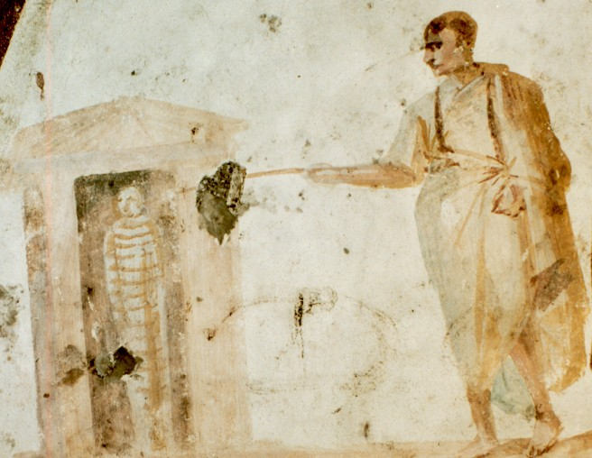 Resurrection of righteous Lazarus. Fresco from the catacomb of Giordani, Rome, 4th c.