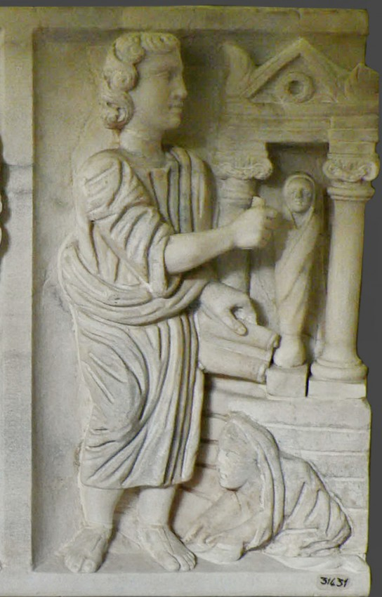 Miracle of the Resurrection of Lazarus, sarcophagus fragment. Pio-Christiano Museum, Vatican, 325–350.