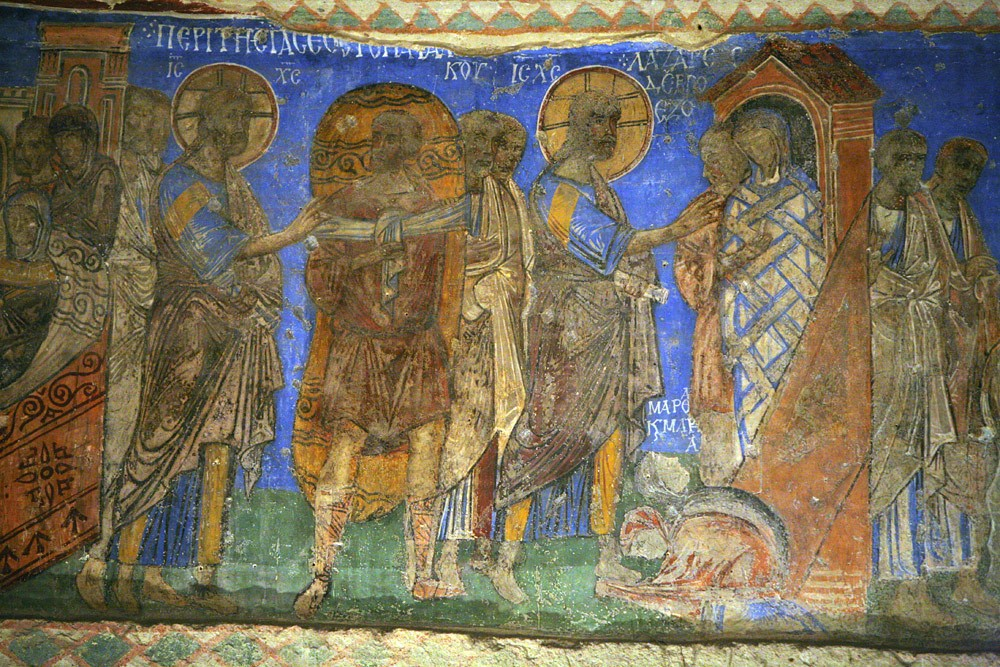 The Resurrection of Lazarus, frescos in the church of Tokali Kilise, Göreme in Cappadocia, Turkey. 9th–10th c.