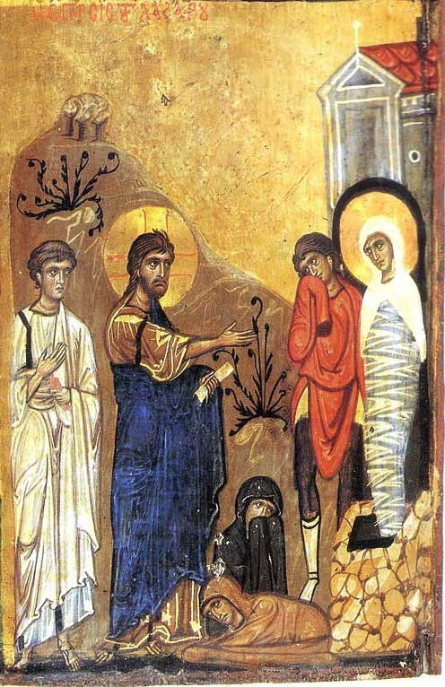 The Resurrection of Lazarus, triptych, fragment. Monastery of St. Catherine, Sinai, 8th c.