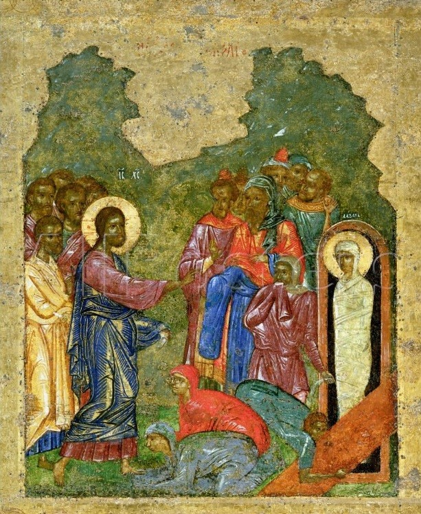 The Resurrection of Lazarus. Fragment of an icon from the festal row on the iconostasis of the Novgorod St. Sophia Cathedral, Russia. Circa 1341.