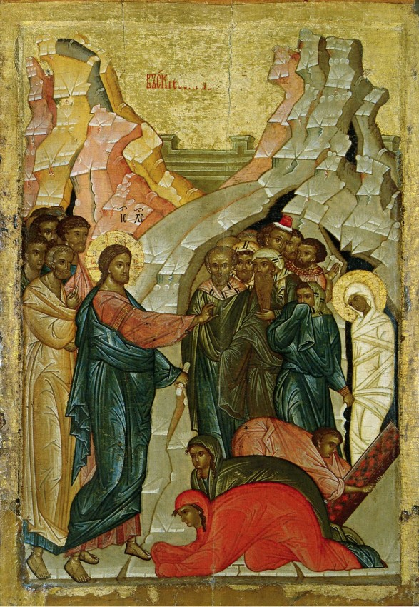 The Resurrection of Lazarus, from the festal row of the iconostasis of the Dormition Church in the village of Bolotovo near Novgorod, Russia 1470–1480.