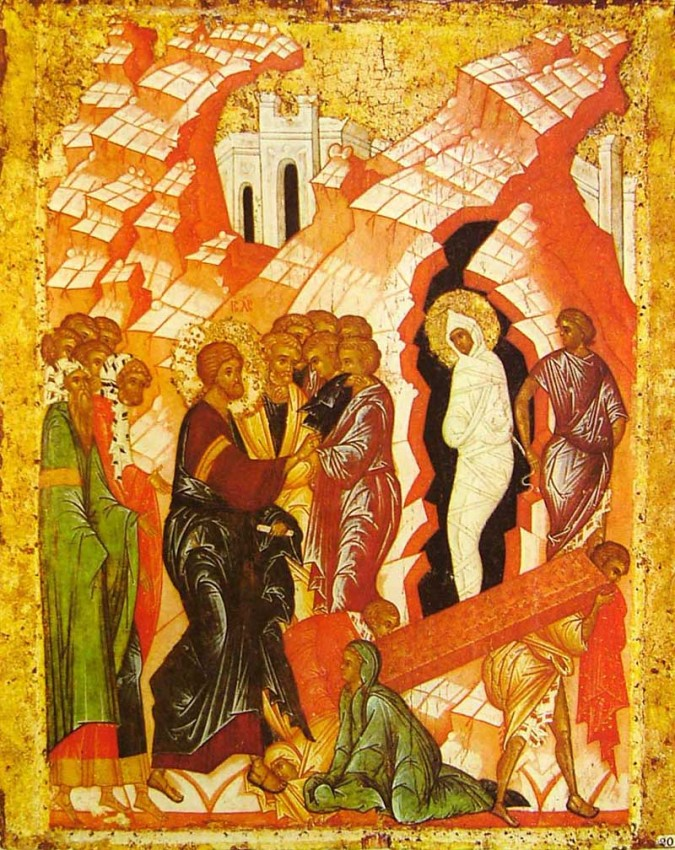 The Resurrection of Lazarus, icon from the St. Cyril of White Lake Monastery, late 15th c. Russian Museum, St. Petersburg, Russia.