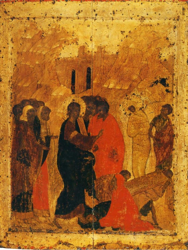 The Resurrection of Lazarus, from the festal row of the iconostasis in the Annunciation Cathedral of the Moscow Kremlin. Early 15th c. (1410–?).