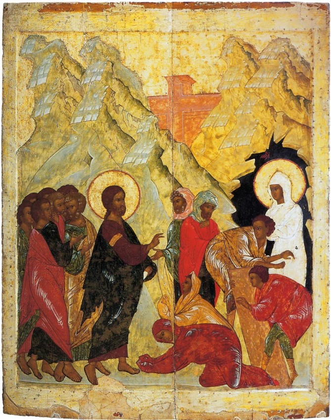 The Resurrection of Lazarus. From the festal row on the iconostasis of the Dormition Cathedral in the Great Tikhvin Monastery. 1560s. Russian Museum, St. Petersburg, Russia.