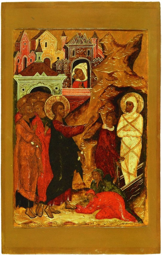 The Resurrection of Lazarus. Icon from the festal row of the iconostasis in the Church of the Nativity of Christ in Yaroslavl, Russia. 1640s. The Yaroslavl historical, architectural, art museum and national park.