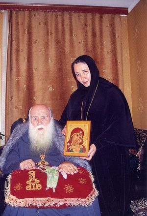 Архиепископ Михей (Хархаров) с игуменией Гавриилой