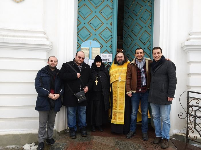 "Abbess Anfisa with the creators of the film ""I'm Waiting for You in Samtavro"""