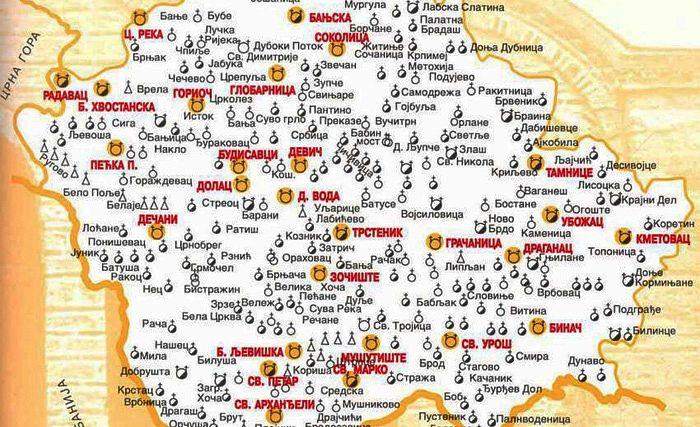 Карта Косово и Метохии с указанием всех сербских православных святынь