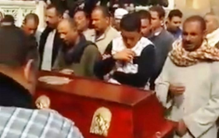 Denied churches, Coptic Christians held another funeral in the middle of Egypt's streets in early Feb.