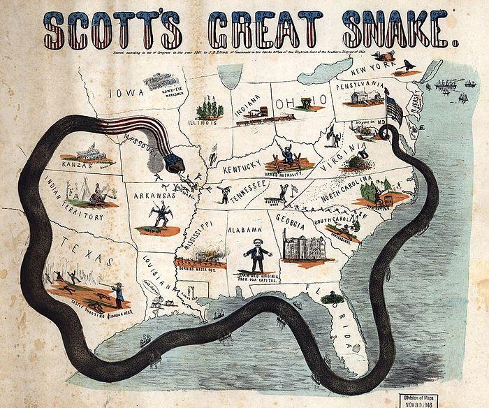 1861 map of General Scott's Anaconda Plan. Photo: wikipedia.org