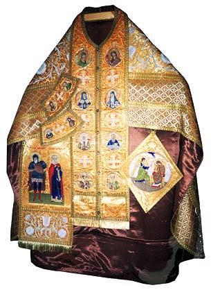 Комплект священнического облачения со св. образами: палица, набедренник, поручи, епитрахиль