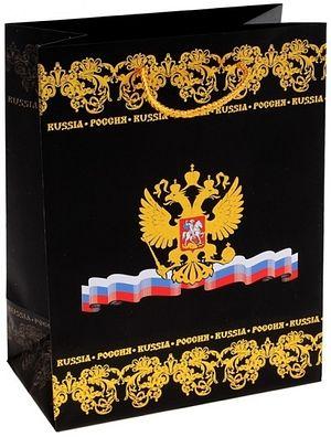 Бумажный пакет с гербом РФ, на котором присутствует символ христианства — Крест