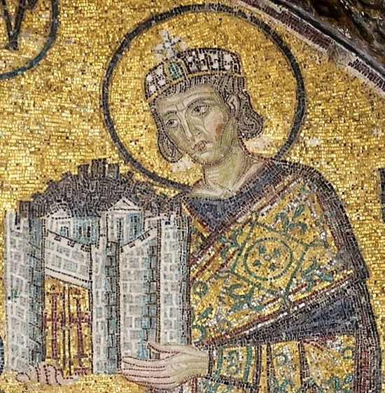 Emperor Constantine the Great, mosaic, detail of the southwestern entrance mosaic in Hagia Sophia. Photo: Wikipedia.