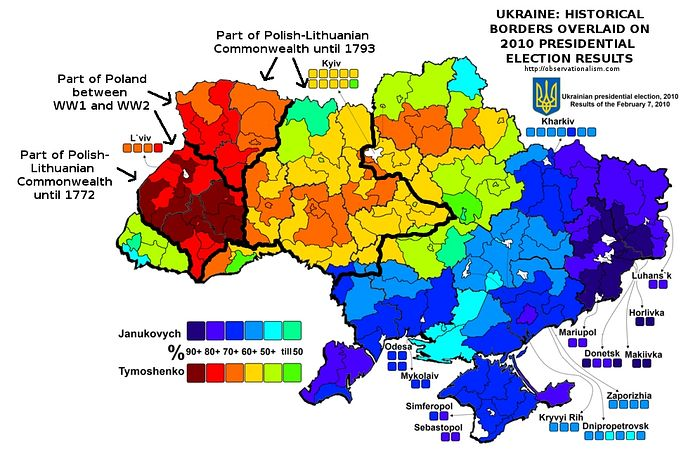 Transcarpathia (far west in green and blue) voted distinctly different from the cluster of red above, more similar to Eastern and Southern Ukraine.