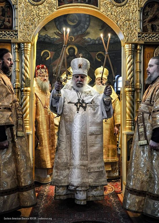 Bishop Luke blesses while Metropolitans Luke of Zaporozhye and Hilarion of New York look on