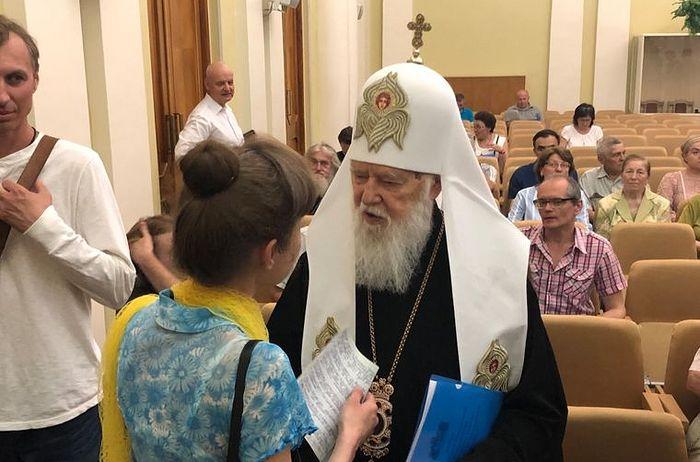 Филарет Денисенко на форуме в поддержку УПЦ КП. Фото: «Громадське»