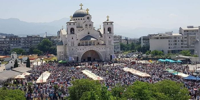 Thousands of people attend the Liturgy at the Cathedral of the Resurrection in Podgorica, Montenegro, to show their support for the Serbian Orthodox Church.