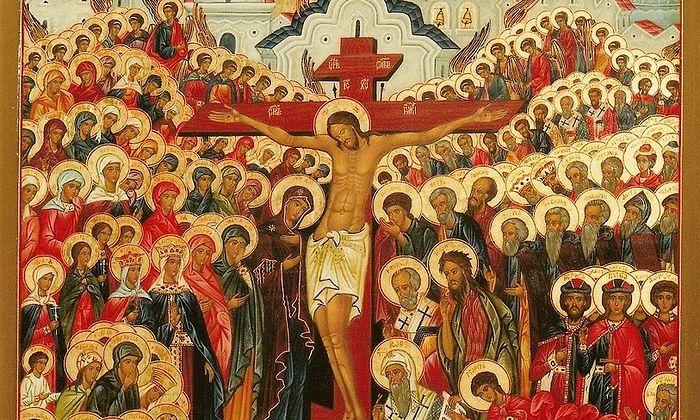 Icon of All Saints. Fragment.