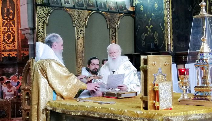 "Philaret and Joasaph of Belgorod ""consecrate"" Andrei Marutsak as ""Bishop"" of Vasilkovsky. Photo: Faceboook"