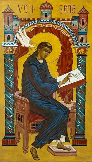 Venerable Bede. Icon by Sr. Jeana Visel, Saint Meinrad Archabbey Library Gallery. Photo: DuBoisCountyHerarld.com.