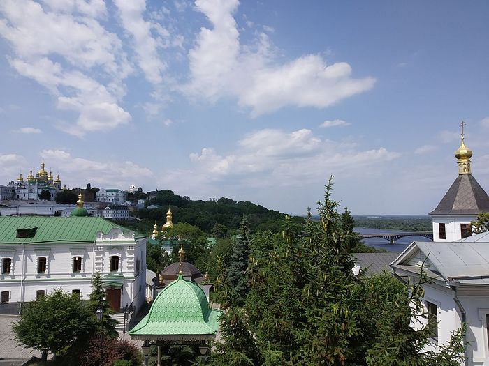 A view towards the upper lavra from the academy church, the great bell tower slightly out of sight. Photo: Matfey Shaheen
