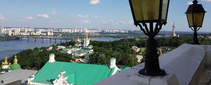 A view towards the academy church in the distance to the right of the river, taken from the Grand Lavra Belltower. Photo taken by Matfey Shaheen