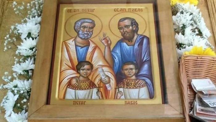 Икона Светих Апостола Петра и Павла са дечацима Петром и Павлом
