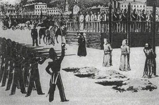 """The rite of execution at Semenovsky Parade Ground,"" B. Pokrovsky, 1849."