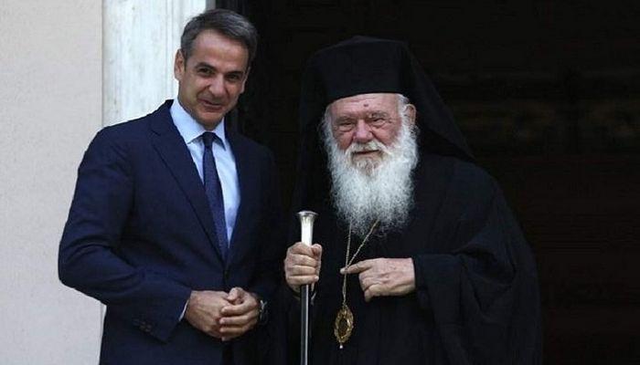 Премьер-министр Греции Кириакос Мицотакис и архиепископ Афинский и всея Эллады Иероним. Фото: Русские Афины