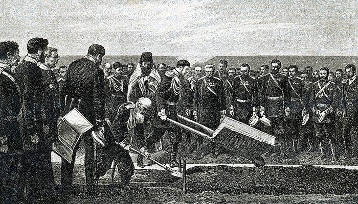 Церемонија полагања темеља за Транссиб од стране царевића Николаја Александровича у Владивостоку. Фото: www.globallookpress.com