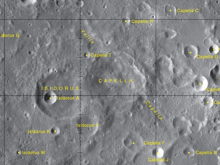 Map of northern Mare Nectaris, showing Isidorus crater. Wikipedia.