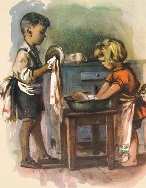 Саня и Женя моют посуду. Иллюстратор: Игорь Ершов