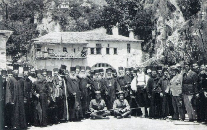 Monks and pilgrims of Dionysiou Monastery.