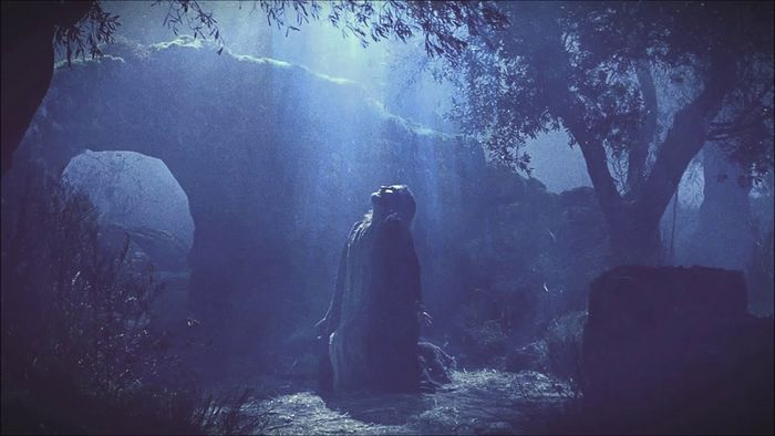"""Christ praying in the Garden of Gethsemane. Screenshot from """"The Passion of the Christ"""""""