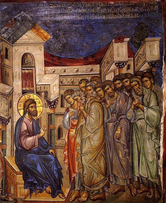 Великий Четверг. Господь объясняет смысл умовения ног апостолов. Нач. XIV в, фреска монастыря Ватопед, Афон