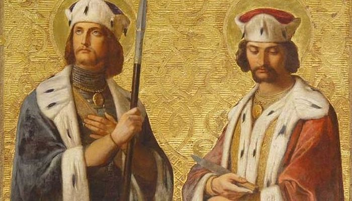 Boris and Gleb. Wall painting in the St. Isaac Cathedral, 19th century. I. K. Dorner.
