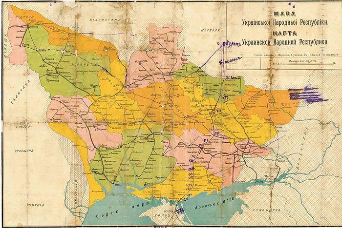 Украина на момент провозглашения Центральной радой независимости в январе 1918 года. Источник: wikipedia.com
