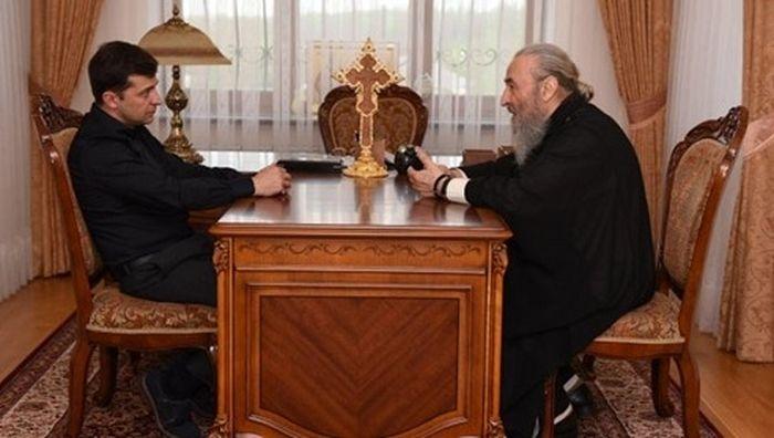 Встреча Митрополита Онуфрия с новоизбранным Президентом Украины Владимиром Зеленским в Киево-Печерской Лавре 30 апреля 2019 г.