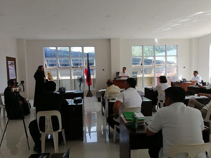 Hieromonk Felipe (Balingit) addressing the Municipal Legislative Council at Guiuan, Samar, Philippines. Photo: philippine-mission.org