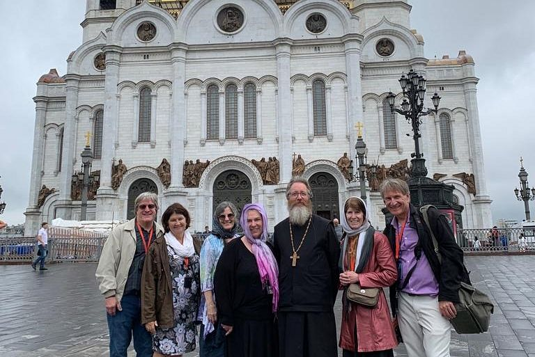 Fr. Martin, Matushka Sarah, Martha Nichols, and other pilgrims at Moscow's Christ the Savior Cathedral