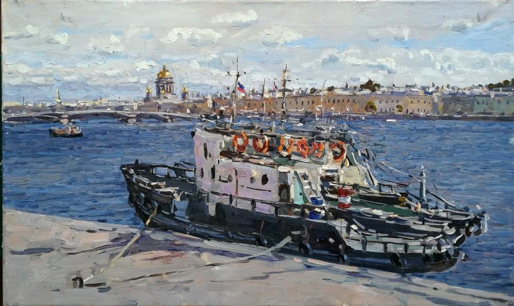 A tugboat on the Neva, 2018
