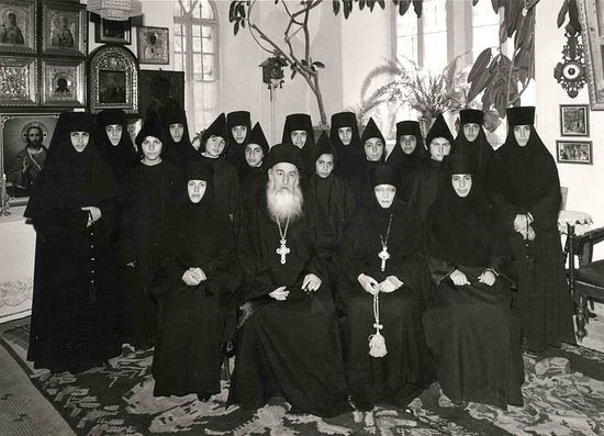 A special photo: Mother Tamara and Fr. Demetrius with Russian Arab sisters of the Russian convent on the Mount of Olives