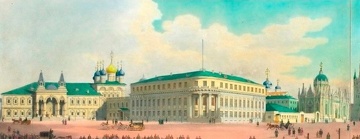 The historic watercolor shows (from left to right): the Chudov Monastery, the Small Nicholas Palace, and the Ascension Convent, which were demolished in 1929, to make way for the Soviet era building which would house the offices of the Presidium of the Supreme Soviet until 2011. Photo: Royal Russia