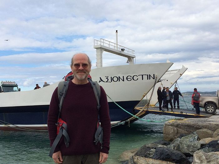 Jonathan waiting to board the Axion Estin ferryboat in Ouranoupoli