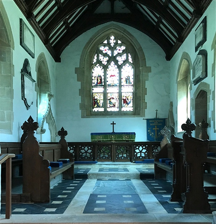 Chancel of St. Congar's Church in Badgworth, Somerset (kindly provided by the parish church of Badgworth)