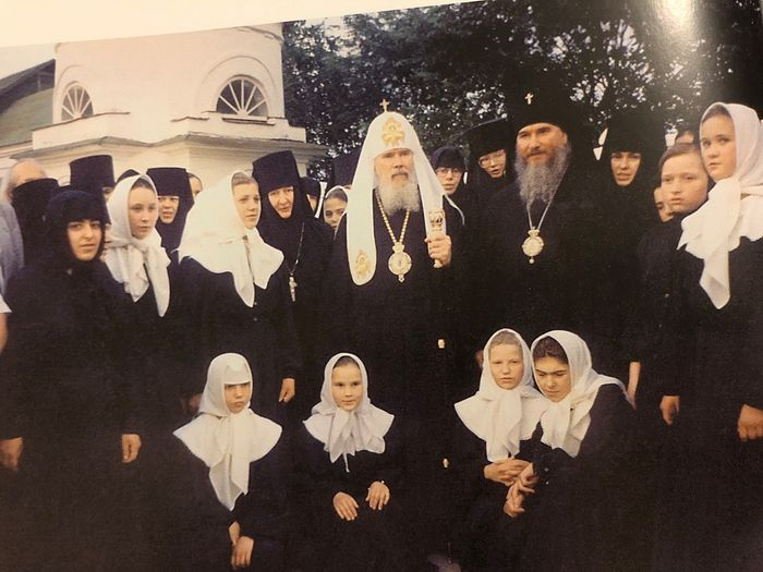 His Holiness Patriarch Alexei II and Archbishop Clement at the monastery, 1999