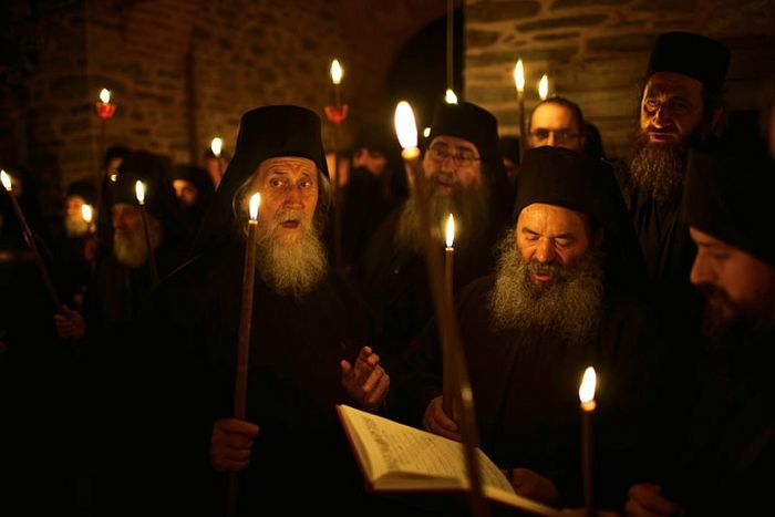 Paschal service on Mt. Athos. Photo: Trevor Dove / National Geographic