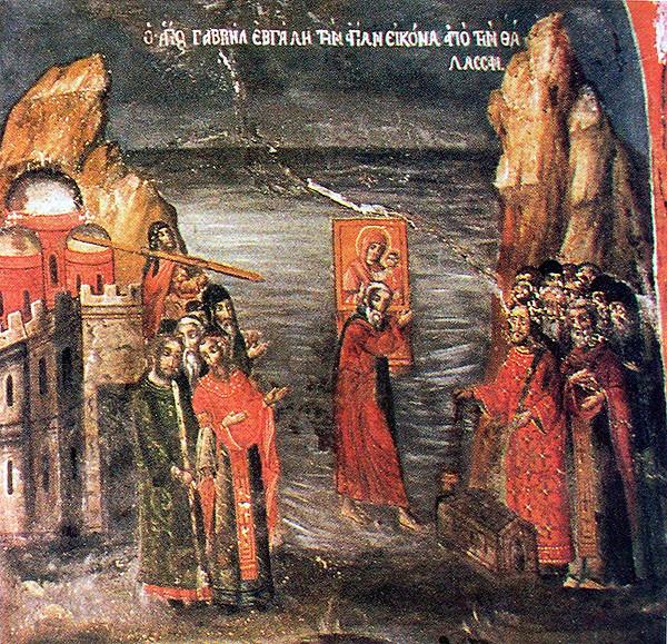 St. Gabriel meeting the wonderworking Iveron Icon