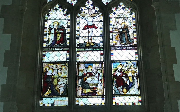 Stained glass above the altar of St. Congar's Church in Badgworth, Som (kindly provided by the parish church of Badgworth)